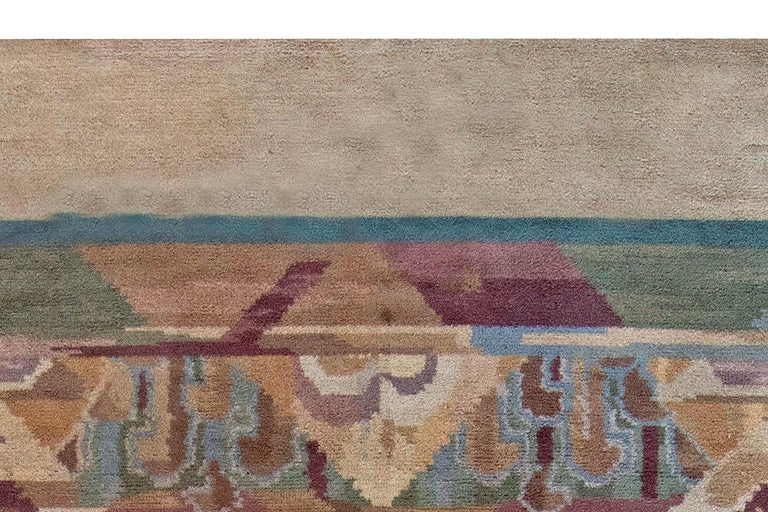 Vintage Art Deco Colorful Machine Woven Rug by Frank Brangwyn In Good Condition For Sale In New York, NY