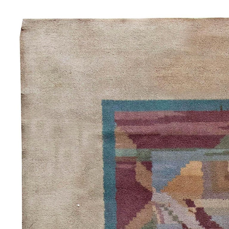 20th Century Vintage Art Deco Colorful Machine Woven Rug by Frank Brangwyn For Sale