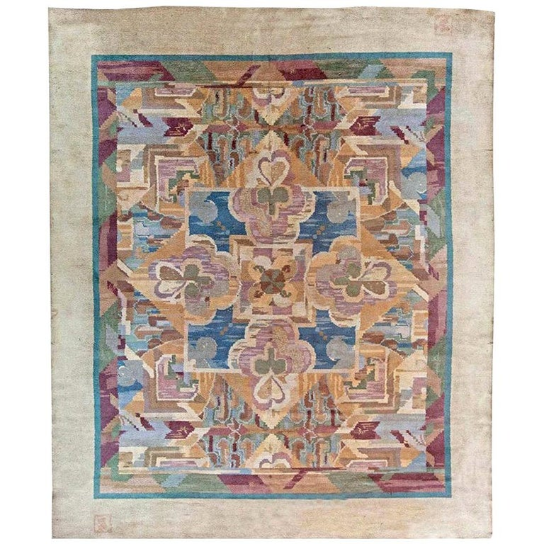 Vintage Art Deco Colorful Machine Woven Rug by Frank Brangwyn For Sale