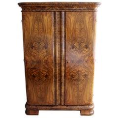 Vintage Art Deco Curved Burl Wood Armoire Dresser
