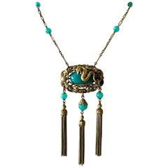 Vintage Art Deco Czech Dragon Tassel Necklace