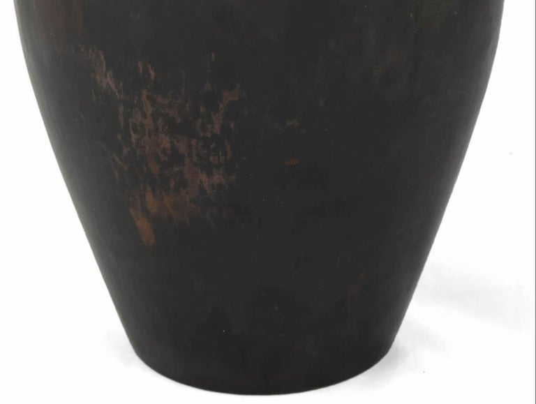 Vintage Art Deco Dark Copper Vase by Hayno Focken, Germany, 1930s In Good Condition For Sale In Roma, IT