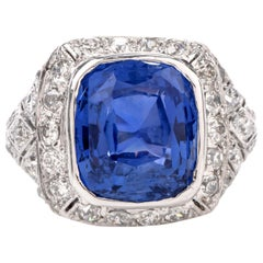 Vintage Art Deco Diamond 10.58 Carat No Heat GIA Sapphire Platinum Ring