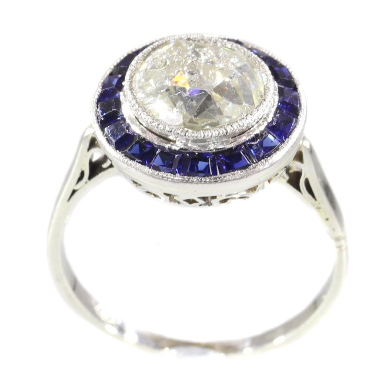 Vintage Art Deco Diamond And Sapphire Engagement Ring With