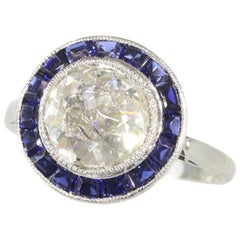 Vintage Art Deco Diamond and Sapphire Engagement Ring with Big Rose Cut Diamond