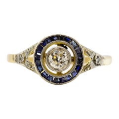 Vintage Art Deco Diamond and Sapphire Halo Ring
