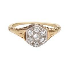 Vintage Art Deco Diamond Cluster Ring 14k Yellow Gold Hexagon Estate Jewelry
