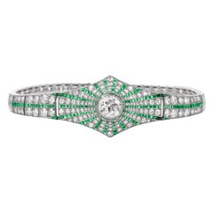 Vintage Art Deco Diamond Emerald Platinum Starburst Bracelet