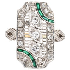 Vintage Art Deco Diamond Emerald Ring Platinum Filigree Dinner Jewelry