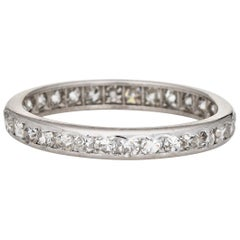 Vintage Art Deco Diamond Eternity Ring Platinum Wedding Band Jewelry