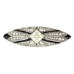 Vintage Art Deco Diamond Onyx and Pearl Brooch