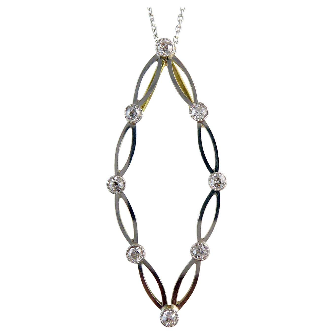 Vintage Art Deco Diamond Pendant, Platinum and Gold, circa 1930s, Platinum Chain