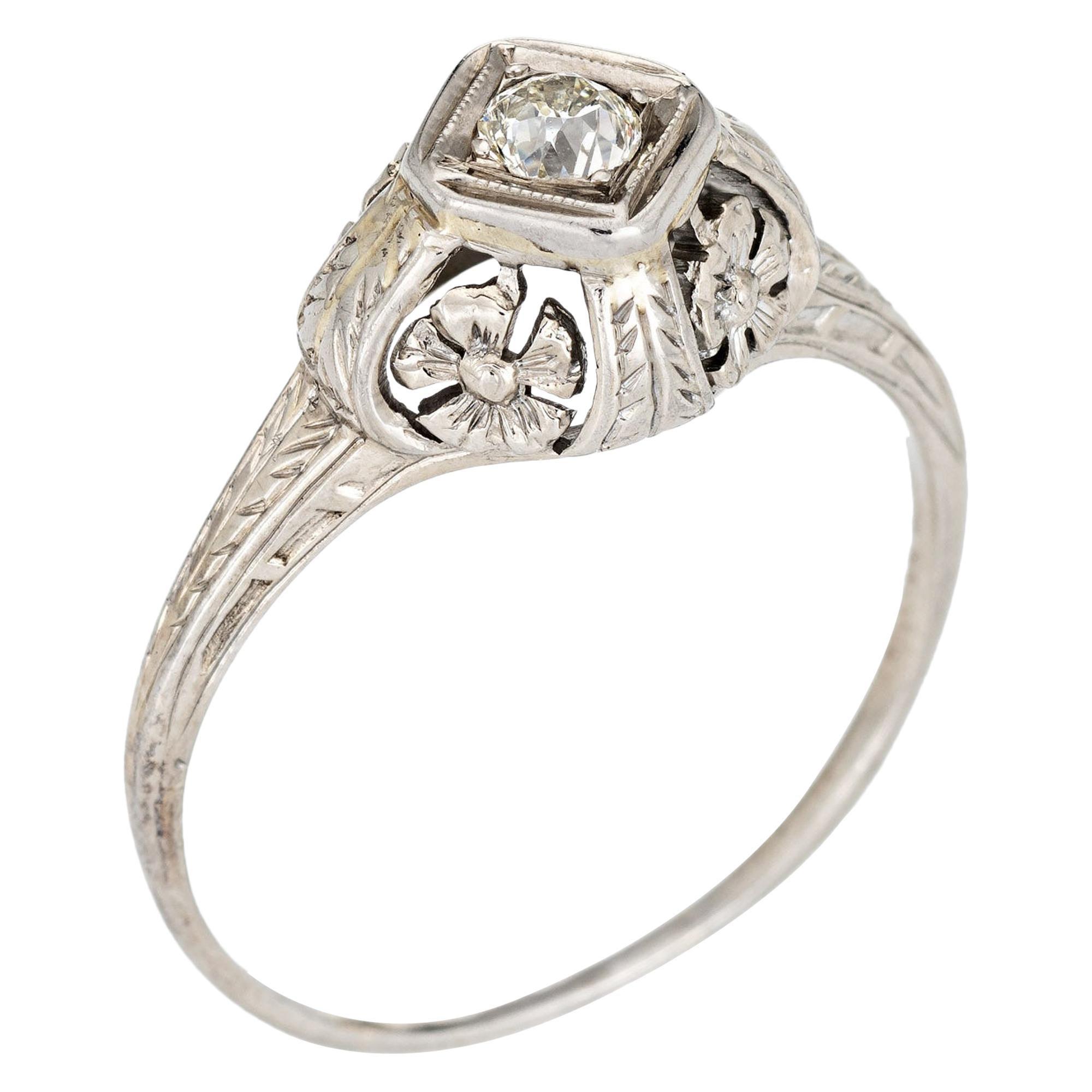 Vintage Art Deco Diamond Ring 14 Karat White Gold Filigree Estate Fine Jewelry