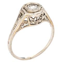 Vintage Art Deco Diamond Ring 18k White Gold Filigree Estate Fine Jewelry