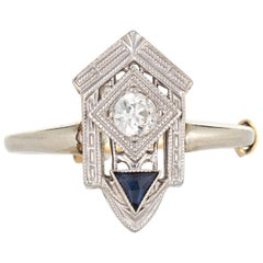 Vintage Art Deco Diamond Sapphire Ring 18 Karat White Gold Fine Antique Jewelry