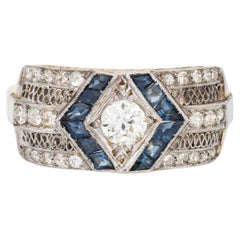 Vintage Art Deco Diamond Sapphire Ring 18k Gold Platinum Band Estate Jewelry