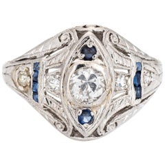 Vintage Art Deco Diamond Sapphire Ring Platinum Filigree Estate Fine Jewelry