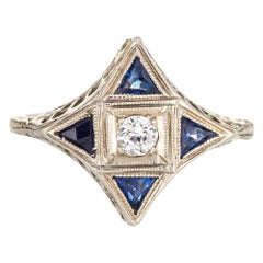 Vintage Art Deco Diamond Sapphire Ring Star Point 18 Karat Gold Antique Jewelry