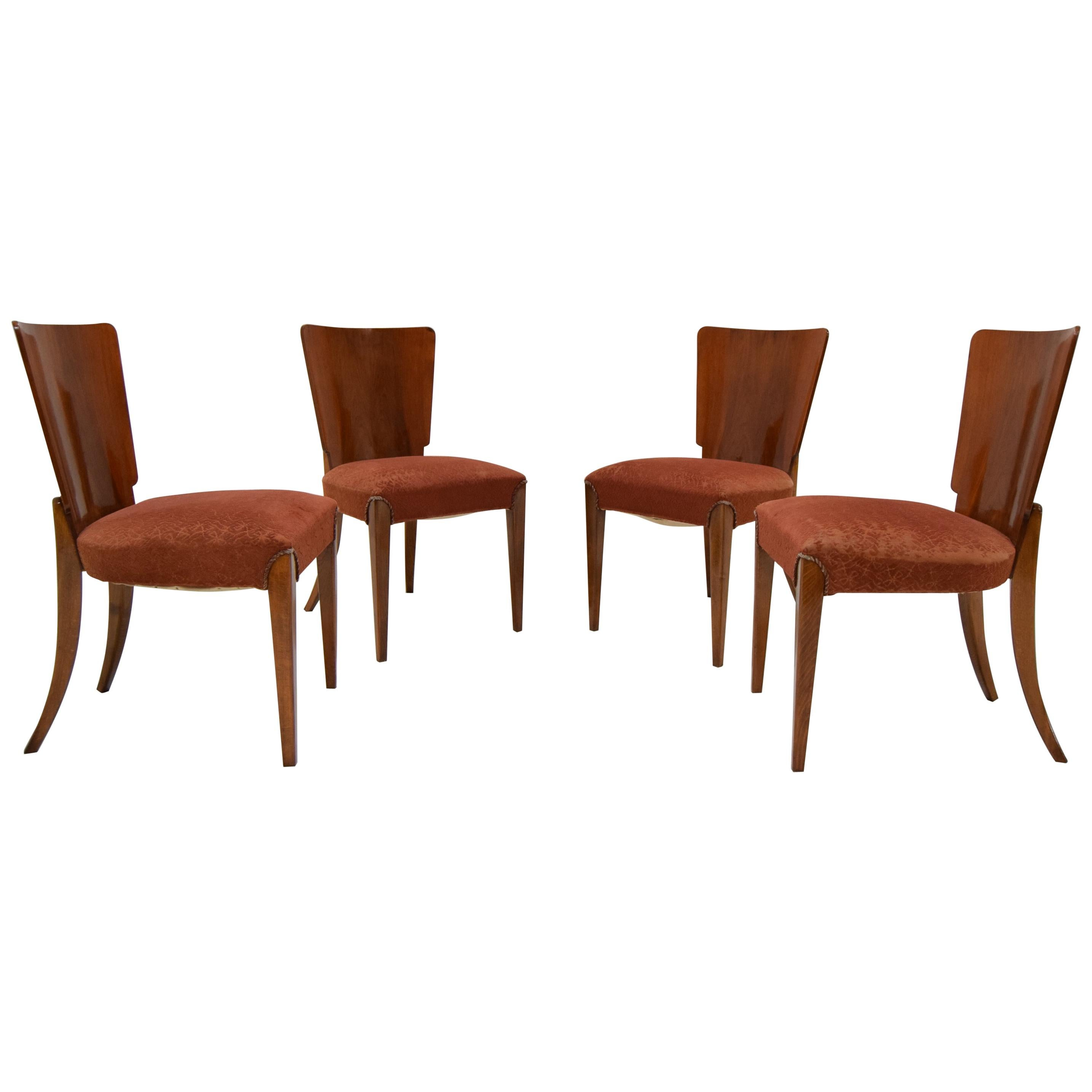 Vintage Art Deco Dining Chairs By Jindrich Halabala for Thonet, Set of 4