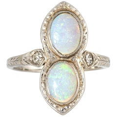 Vintage Art Deco Double Opal Diamond Ring 18 Karat Gold Antique Fine Jewelry