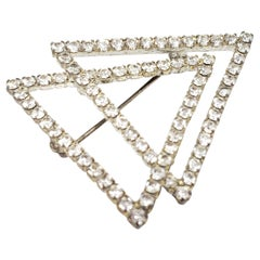 Vintage Art Deco Double Triangle Pin Brooch in Silver with Clear Crystals