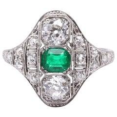 Vintage Art Deco Emerald Diamond Platinum Ring