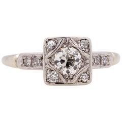 Vintage Art Deco Engagement Ring 14 Karat 0.40 Carat OEC J-SI2, circa 1930s