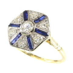 Vintage Art Deco Engagement Ring with Sapphires and Diamonds