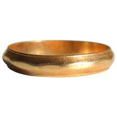 Vintage Art Deco Era 14 Karat Gold Milgrain Wedding Band Ring