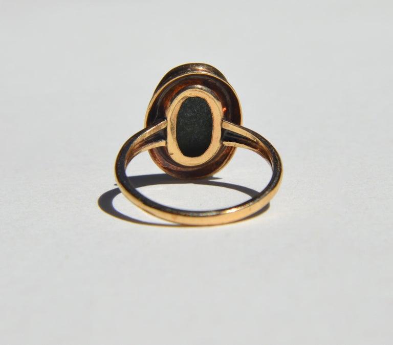 Vintage Art Deco Era 1920s 5.81 Carat Jade 10 Karat Gold Signet Ring In Fair Condition In Crownsville, MD