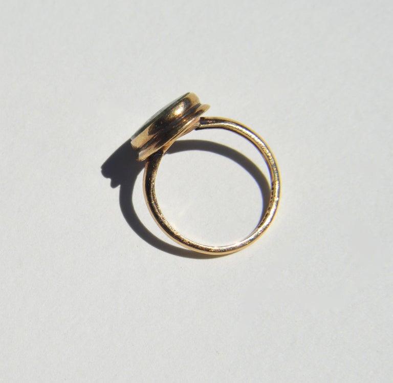 Vintage Art Deco Era 1920s 5.81 Carat Jade 10 Karat Gold Signet Ring 1