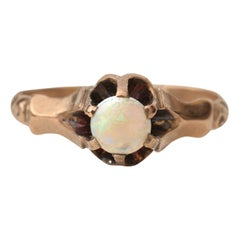 Vintage Art Deco Era Rose Gold Opal Solitaire Ring, circa 1900