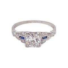 Vintage Art Deco European Cut Diamond Engagement Ring with Sapphires