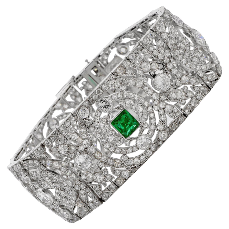 Vintage Art Deco European Diamond Emerald Platinum Wide Filigree Bracelet