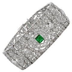 Vintage Art Deco European Diamond Emerald Platinum Wide Filigree Bracelet