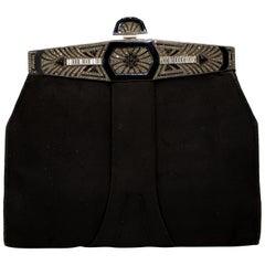 Vintage art deco evening bag, sterling silver & marcasite,