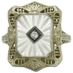 Vintage Art Deco Filigree Engagement Ring Sun Ray Crystal Diamond, circa 1930s