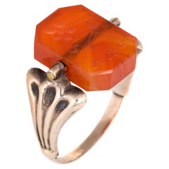 Vintage Art Deco Flip Ring Carnelian Intaglio Flowers Dog 10 Karat Gold Spinning