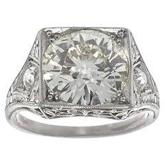 Vintage Art Deco GIA 3 Carat Old European Cut Diamond Platinum Ring