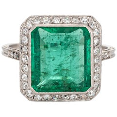 Vintage Art Deco GIA 3.50 Carat Emerald Diamond Ring Gemstone Platinum