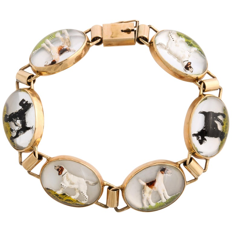 Vintage Art Deco Gold Dog Lovers Bracelet For Sale