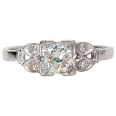 Vintage Art Deco Half Carat Old European Cut Diamond Platinum Engagement Ring