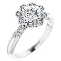 Vintage Art Deco Halo Style Round Brilliant GIA Certified Engagement Ring