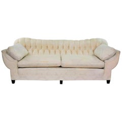 Vintage Art Deco Hollywood Regency Sofa Tufted Back and Concave Pillowed Arms