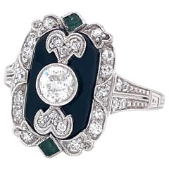 Vintage Art Deco Inspired Diamond Onyx Emerald Platinum Ring