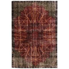 Vintage Art Deco Inspired Geometric Red and Green Wool Geometric Rug