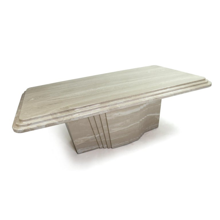 Vintage Art Deco Italian Travertine Stone Coffee Table In Excellent Condition For Sale In Saint Petersburg, FL