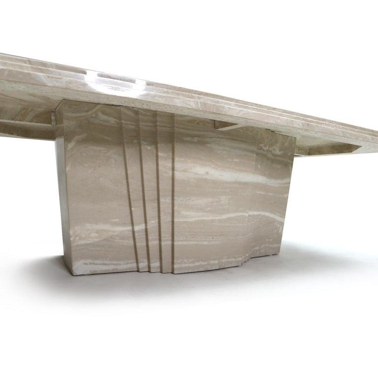 Late 20th Century Vintage Art Deco Italian Travertine Stone Coffee Table For Sale
