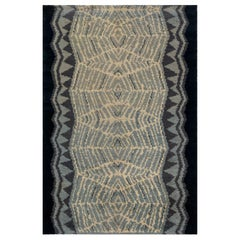 Vintage Art Deco Ivory, Blue and Midnight Blue Handwoven Wool Runner