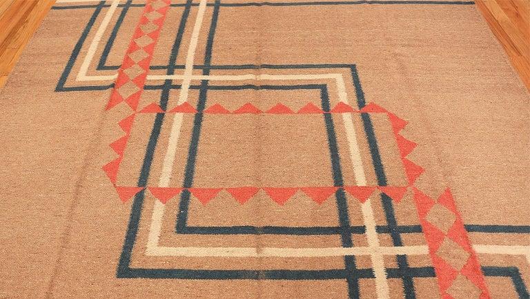 Vintage Art Deco Kilim, Origin: India, Circa: Early 20th Century. Size: 9 ft x 11 ft 8 in (2.74 m x 3.56 m)